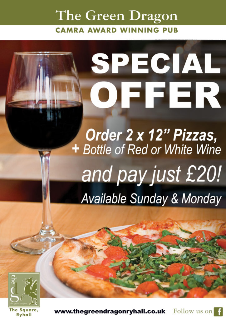 Green Dragon Ryhall Pizza Wine Offer